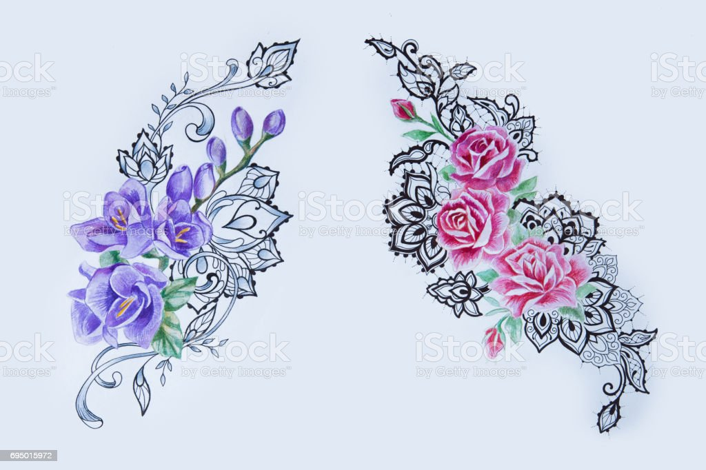 1df64889c Sketch of beautiful red and purple flowers in patterns on a white background.  - Illustration .