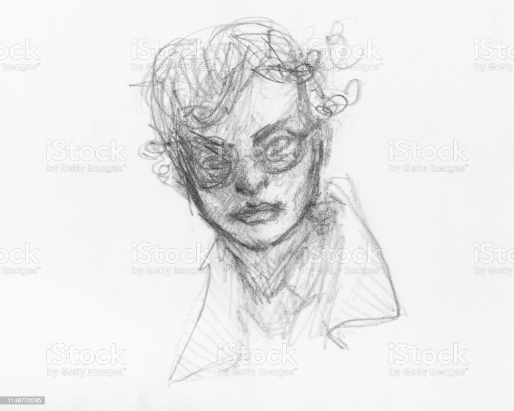 Sketch of boy head with spectacles and curly hair illustration
