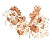 istock Sketch of chicken heads 1203149526