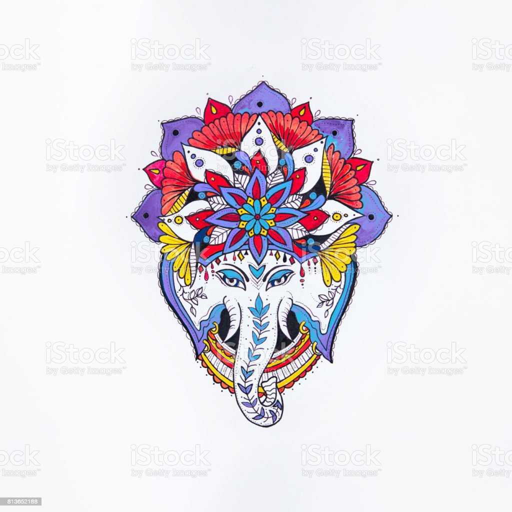 Sketch of elephant in the mandala on a white background. vector art illustration