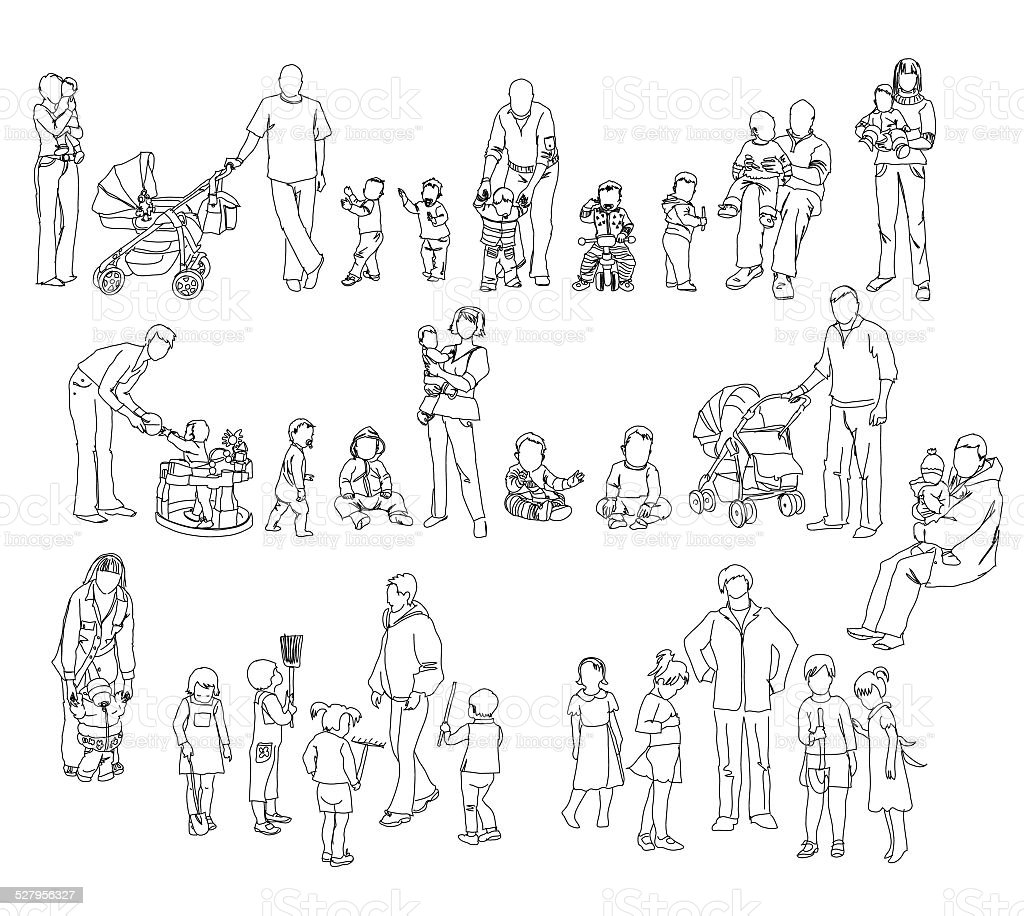 Sketch Of Family With Kids And Babies People Silhouettes