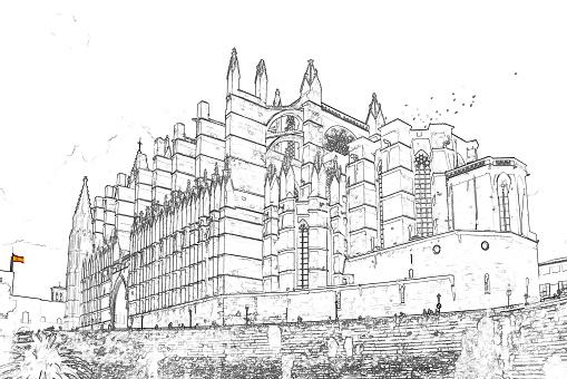 Sketch of La Seu, the Cathedral of Palma de Mallorca - Spain
