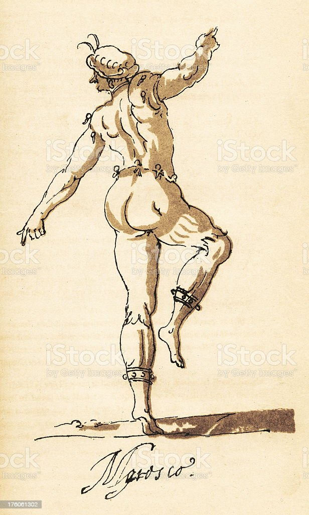 Sketch of Male Dancer by Inigo Jones, circa 1600s royalty-free stock vector art