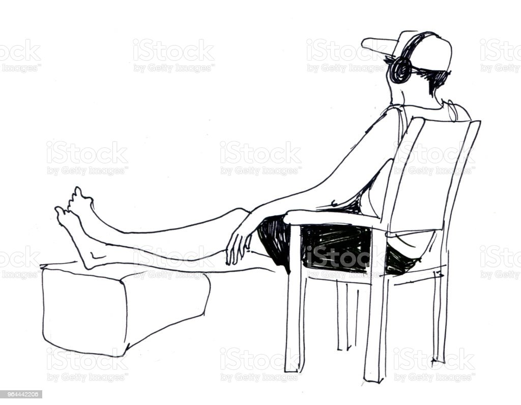 esboço de homem com fones de ouvido que se senta na cadeira e descansa - Ilustração de Adulto royalty-free