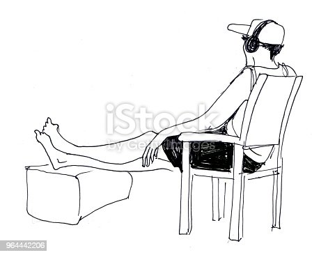 sketch of man with headphones who sits on the chair and rests