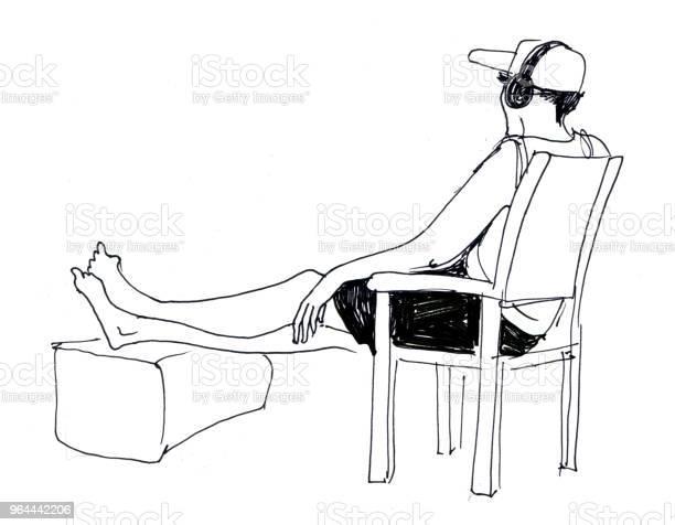 Vetores de Esboço De Homem Com Fones De Ouvido Que Se Senta Na Cadeira E Descansa e mais imagens de Adulto