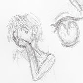sketch of scared girl with hand covers her mouth,