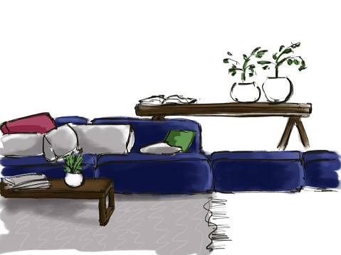 Sketch of the interior with a blue sofa