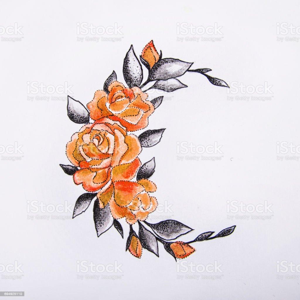 Ilustración de Dibujo De La Luna Con Flores Sobre Un Fondo Blanco y ...