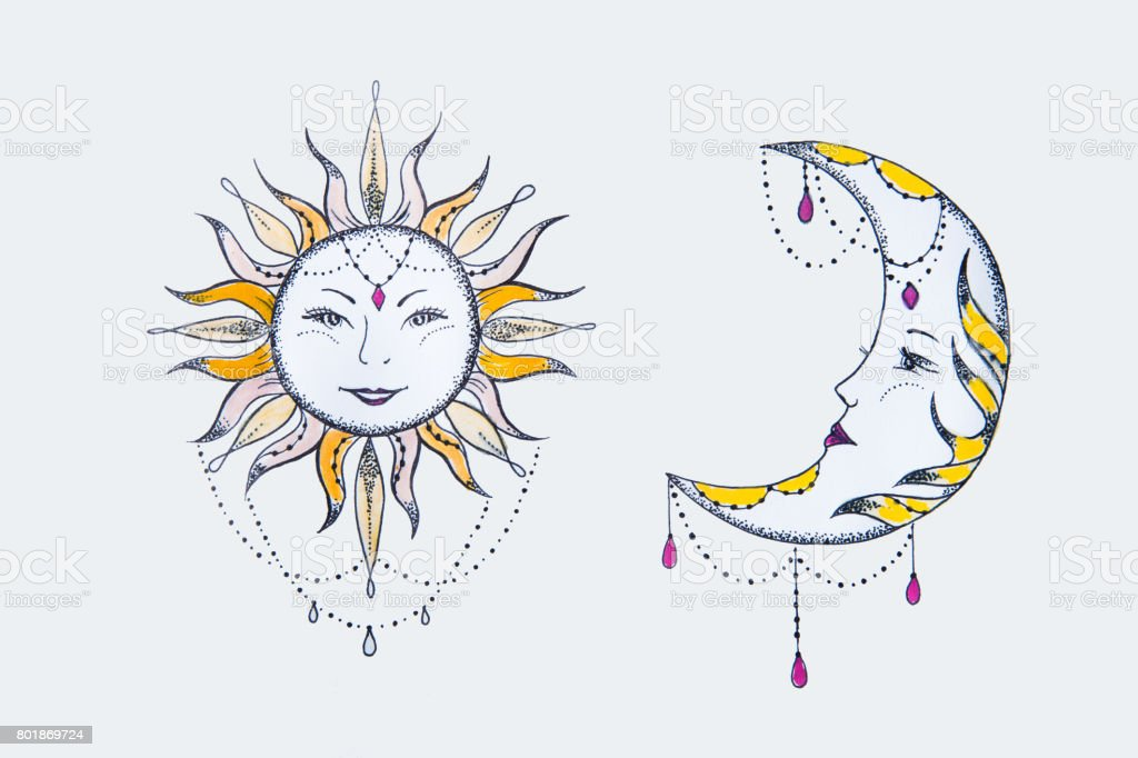 Sketch of the sun and moon against a white background. vector art illustration