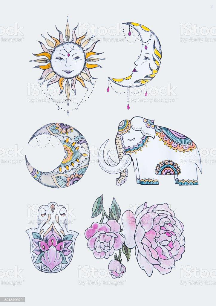 Ilustración De Dibujo Del Sol Luna Elefante Hamsa Y Peonía Sobre Un