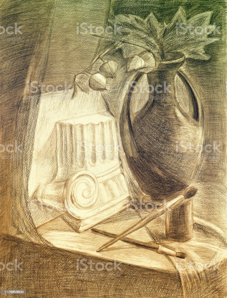 Sketch pencil drawing still life stock illustration download image now