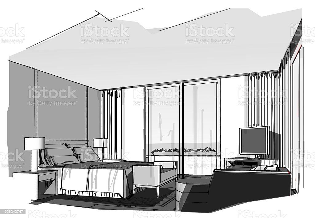 sketch perspective vector art illustration