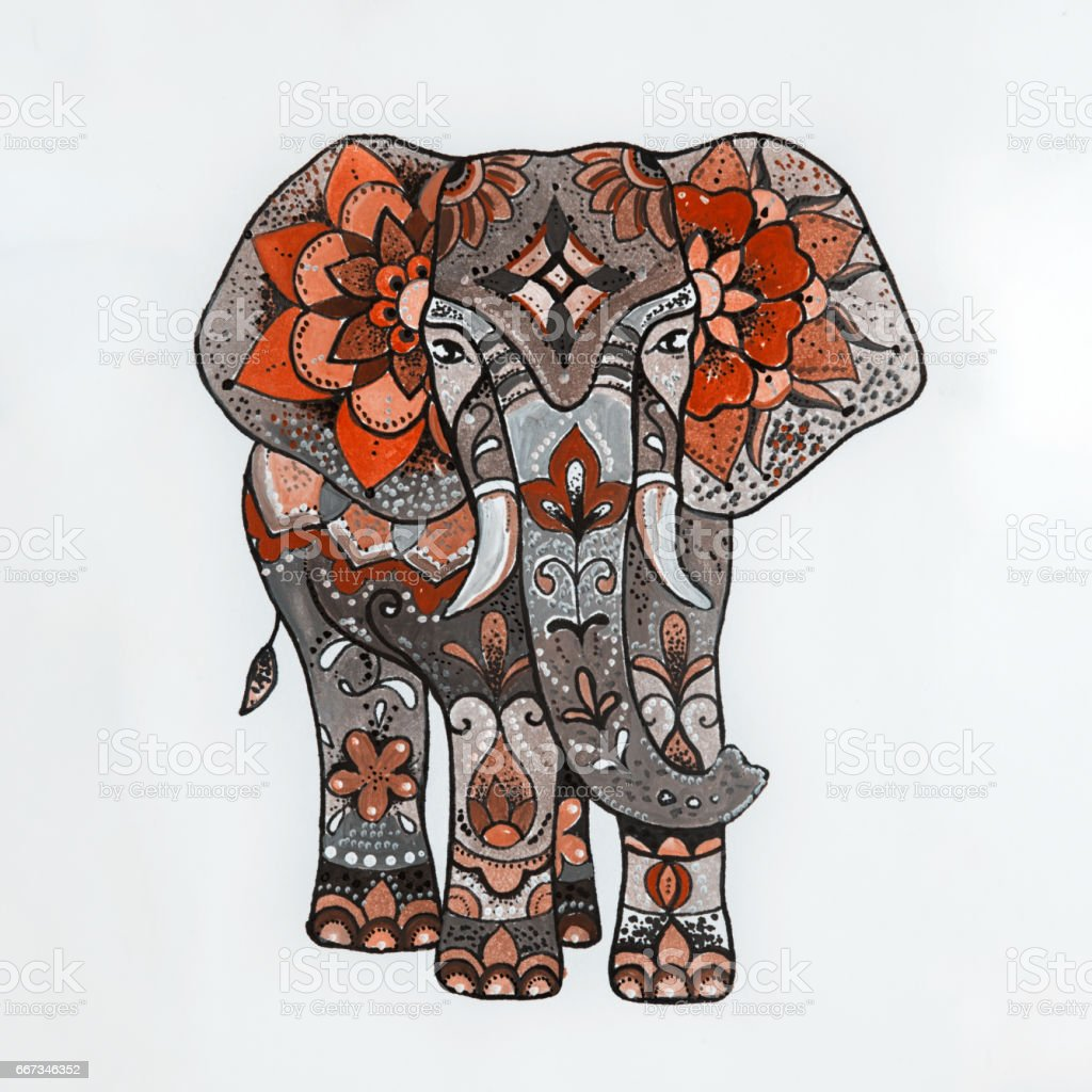 Sketch red elephant with beautiful patterns. vector art illustration