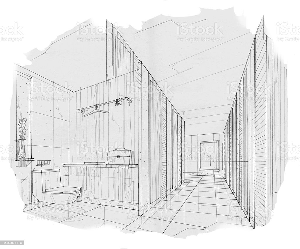 Sketch Stripes Toilet Bathroom Black And White Interior Design Stock