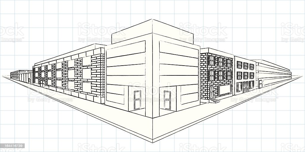 Sketch twopoint perspective stock vector art more images for Exterior 1 point perspective