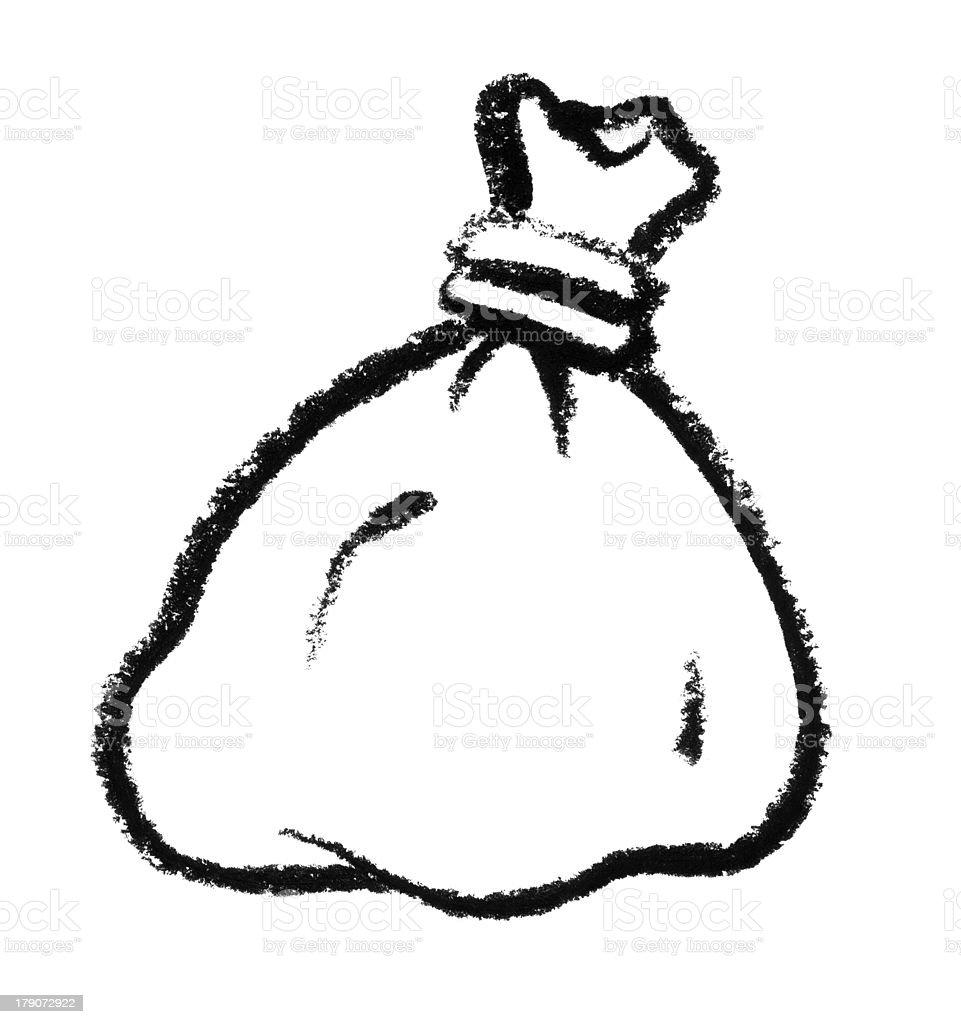 sketched bag vector art illustration