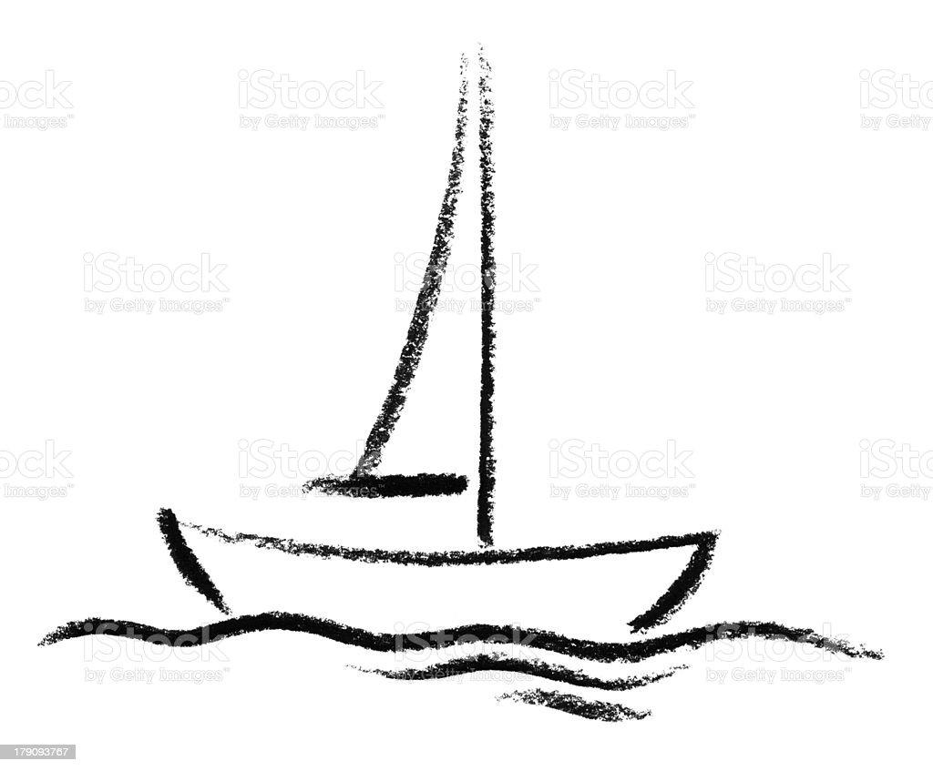 sketched boat vector art illustration