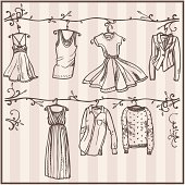 sketched ladies wardrobe