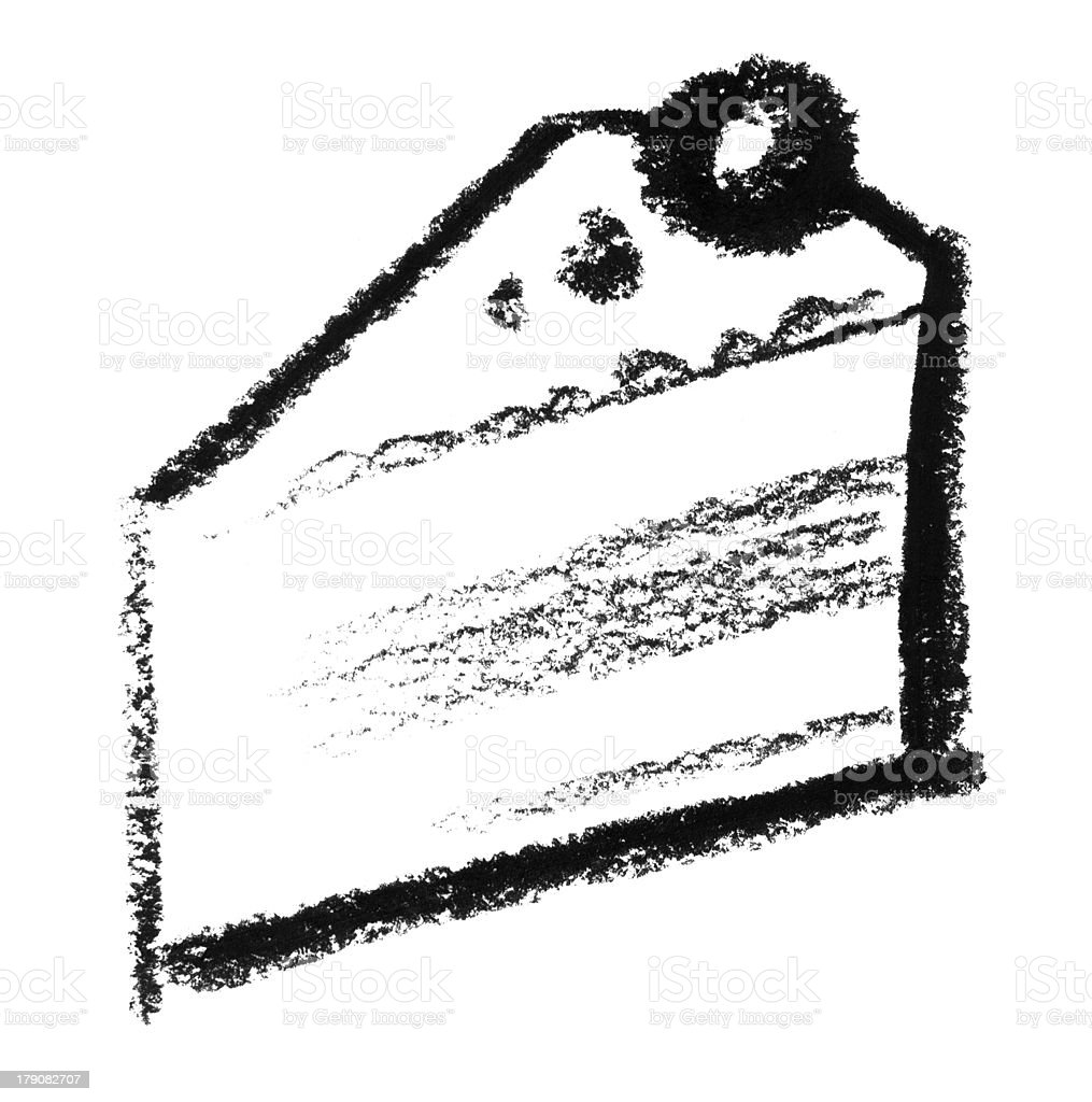 sketched piece of cake vector art illustration