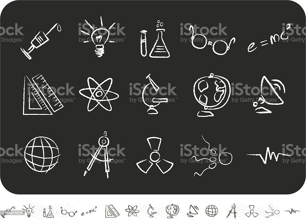 Sketched Science Icons royalty-free stock vector art