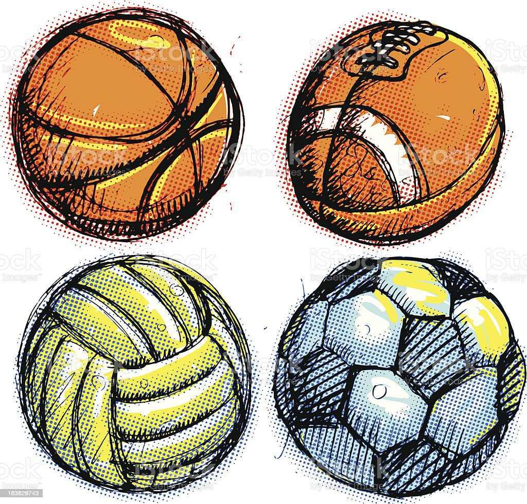 Sketched sports balls royalty-free stock vector art
