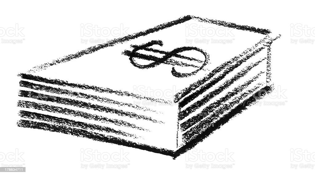 sketched stack of Dollars vector art illustration