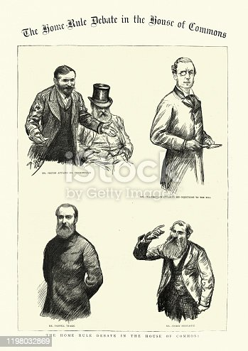 istock Sketches from the Home Rule debate, House of Commons, 1886 1198032869