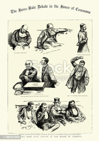 istock Sketches from the Home Rule debate, House of Commons, 1886 1198032900