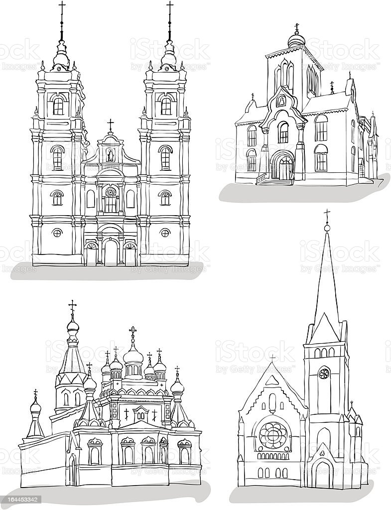 Sketches of churches illustration