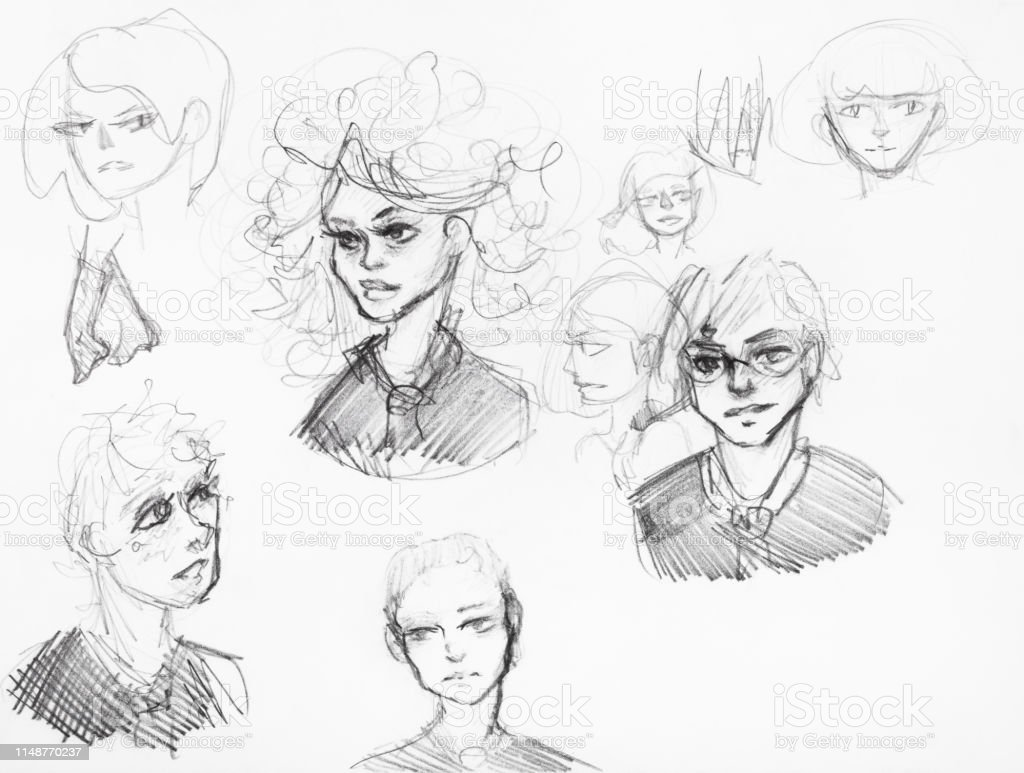 Sketches of various girls and boys by black pencil stock