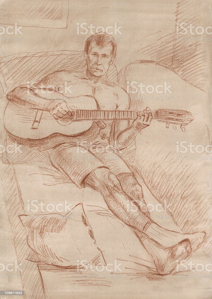 Sketching of man with the guitar royalty-free stock vector art