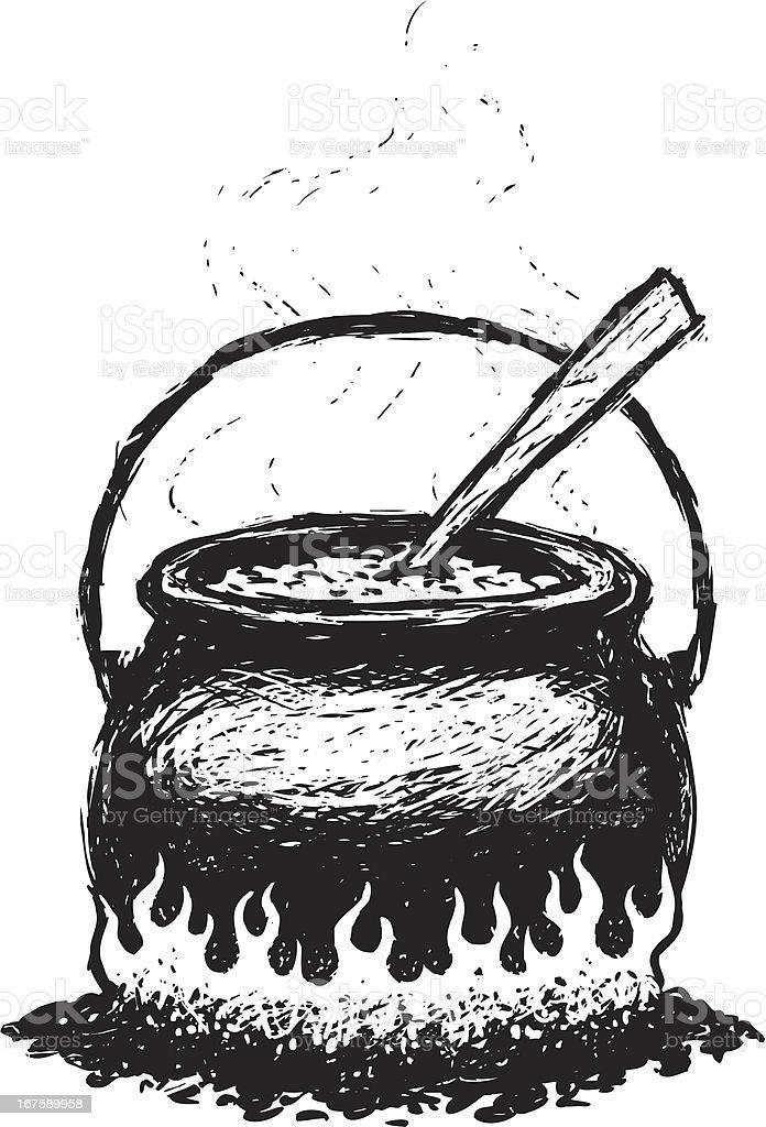 sketchy chili pot vector art illustration