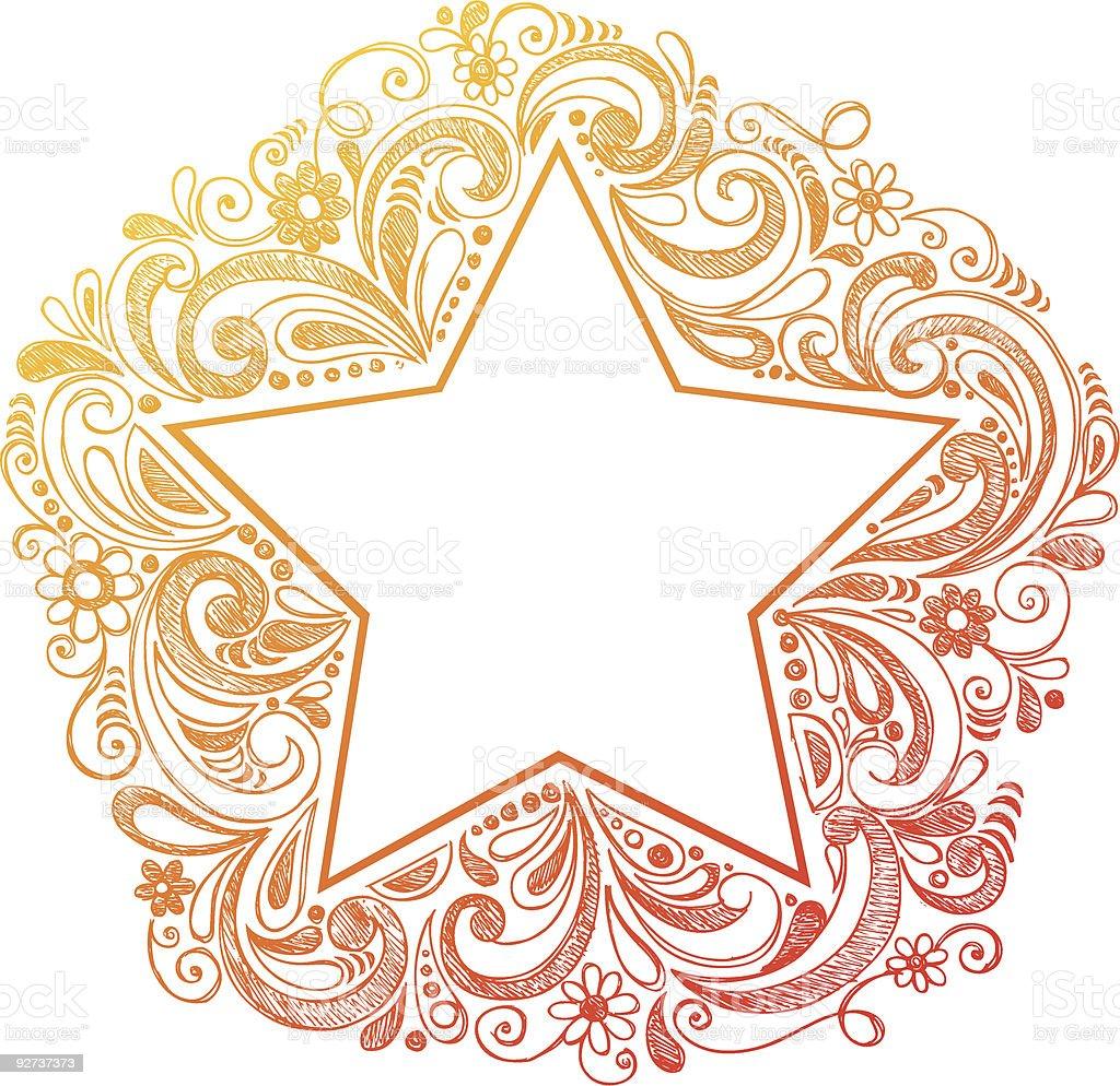 Sterne Skizzenhafte Doodle Vektor-Illustration Lizenzfreies sterne skizzenhafte doodle vektorillustration stock vektor art und mehr bilder von einzelne blume