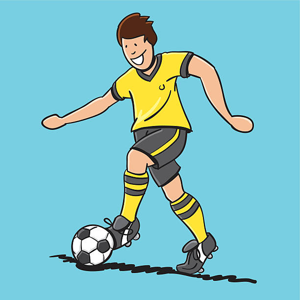 "Sketchy Happy Soccer Player Cartoon ""Sketchy vector illustration of a happy Cartoon Soccer Player with a yellow jersey. Line art, color and background are on separate layers, so you also can use the illustration on your own background. The colors in the .eps-file are ready for print (CMYK). Included files: EPS (v8) and Hi-Res JPG."" doodle NOT black and white stock illustrations"