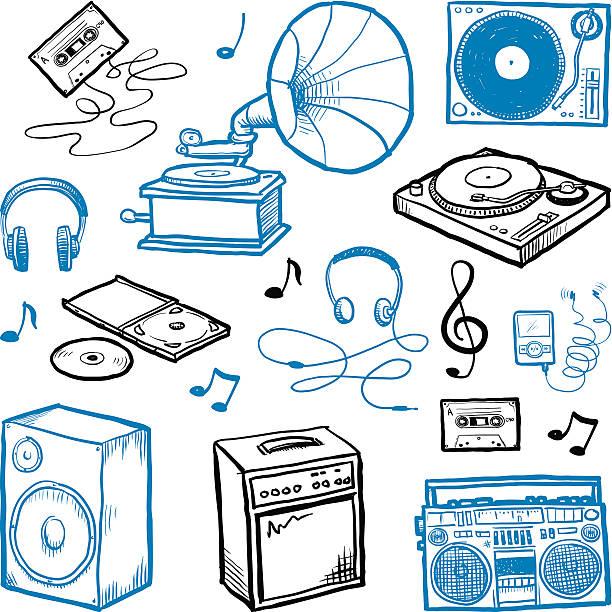ilustrações, clipart, desenhos animados e ícones de esboço ícones de música - cd