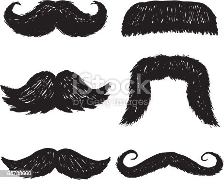 mustaches done in a sketchy style
