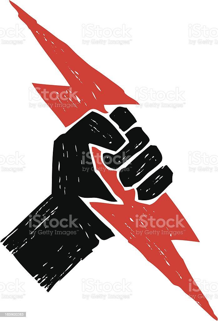 sketchy power fist vector art illustration