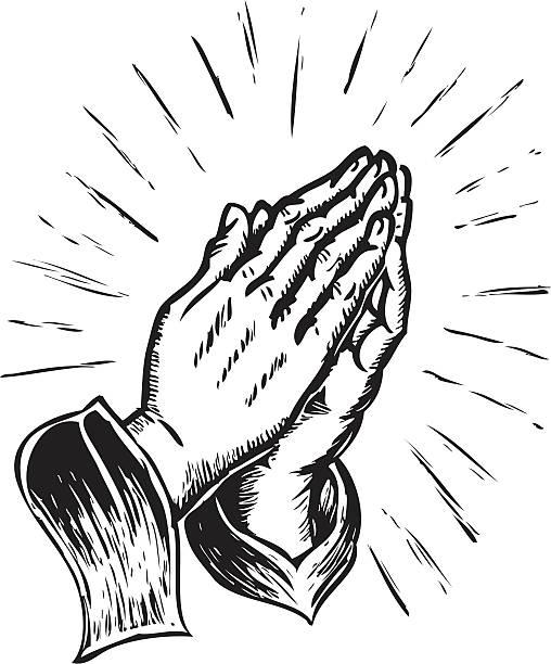 sketchy praying hands vector art illustration