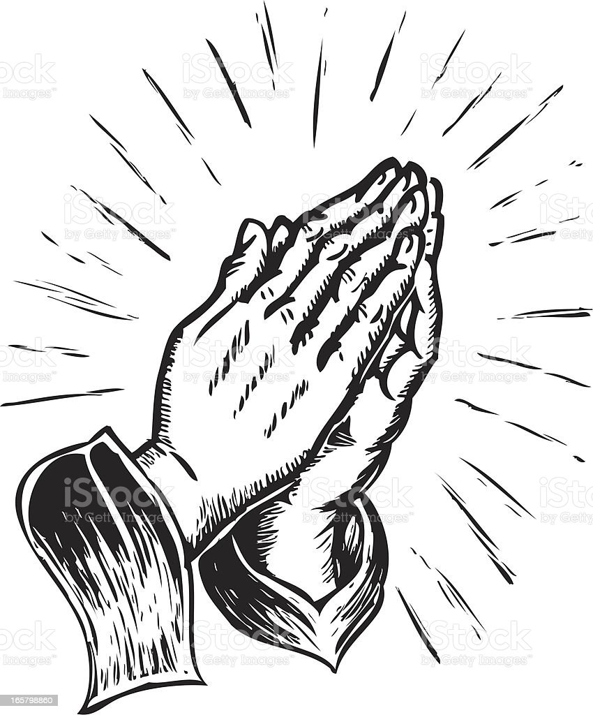 sketchy praying hands vector art illustration