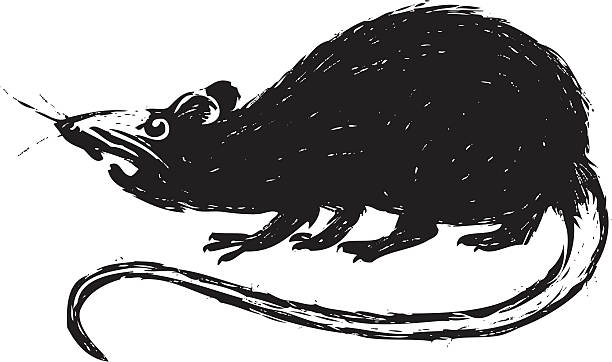 Clipart of a Fat Brown Rat Waving - Royalty Free Vector