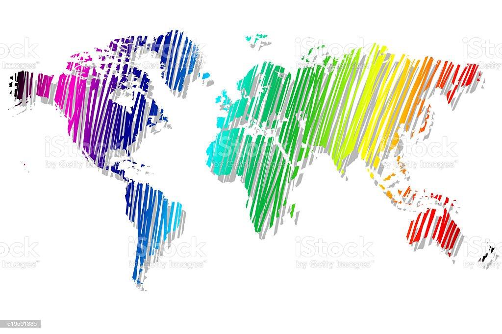 Discreti mappa del mondoi colori dellarcobaleno immagini - Arcobaleno a colori e stampa ...