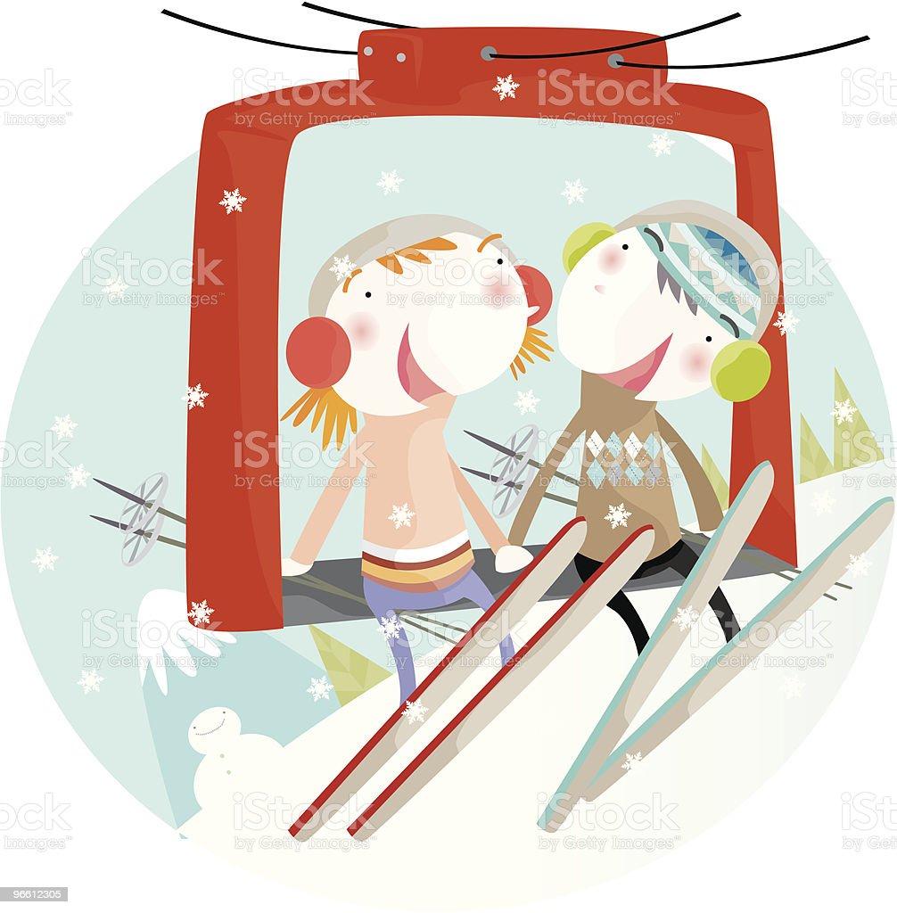 ski cable ride - Royaltyfri Berg vektorgrafik