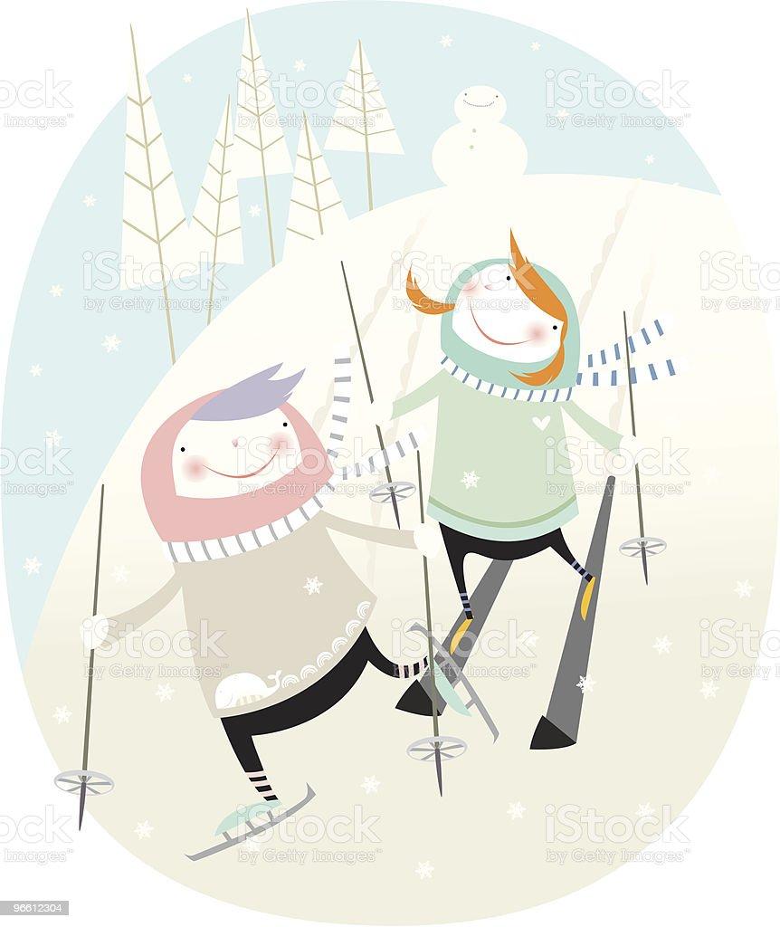 ski-Spaß - Lizenzfrei Eingefroren Vektorgrafik