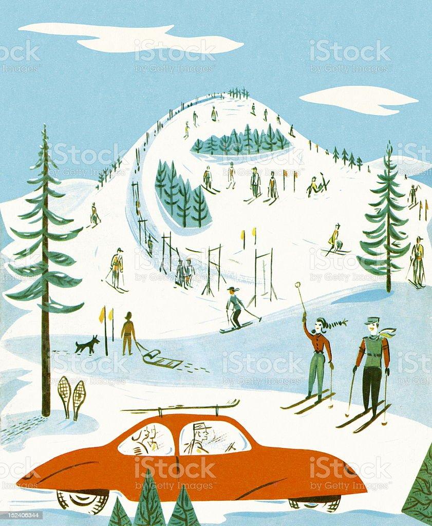 スキー場の風景 イラストレーションのベクターアート素材や画像を多数