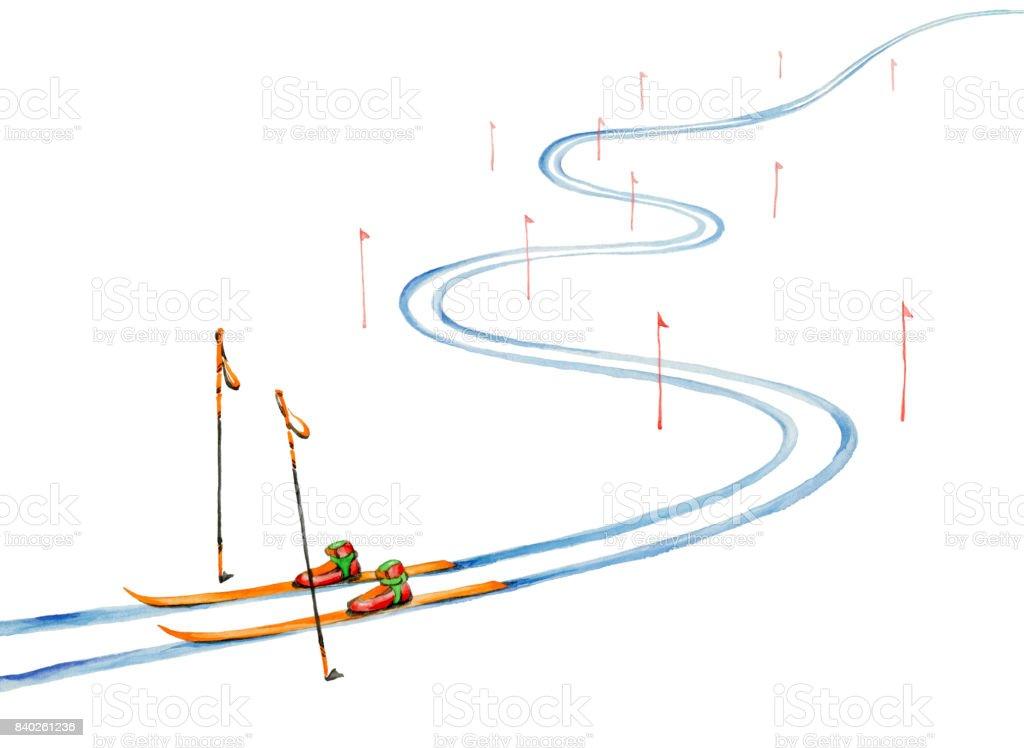 Ski track and ski equipment vector art illustration