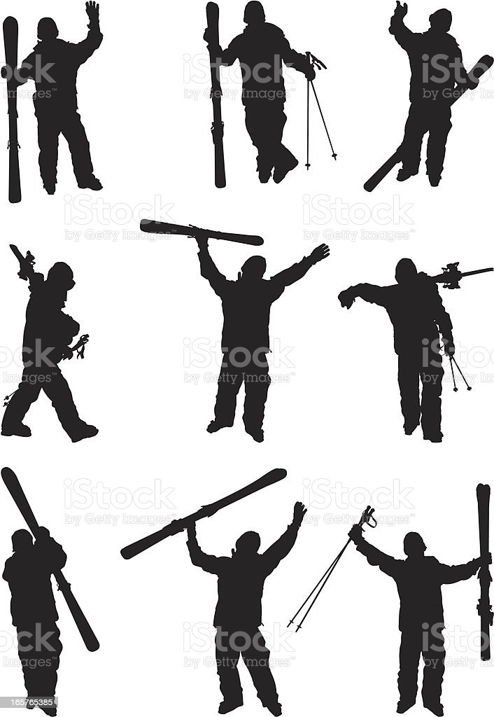 Skiers with skis and poles vector art illustration