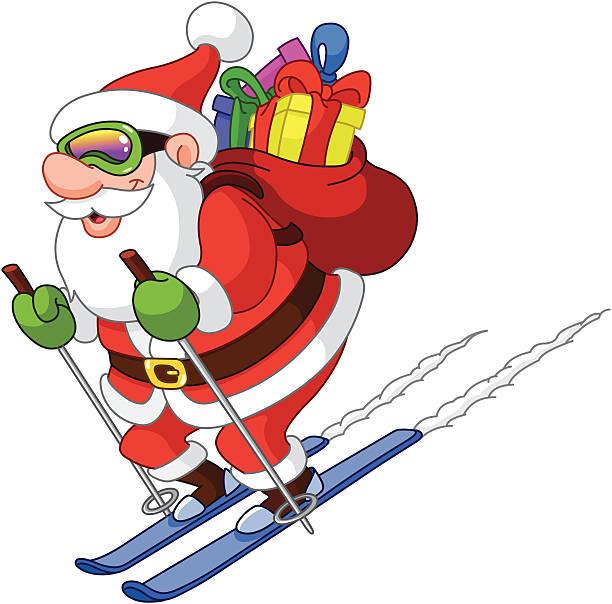 Image Pere Noel En Ski.Pere Noel Ski Vectoriels Et Illustrations Libres De Droits