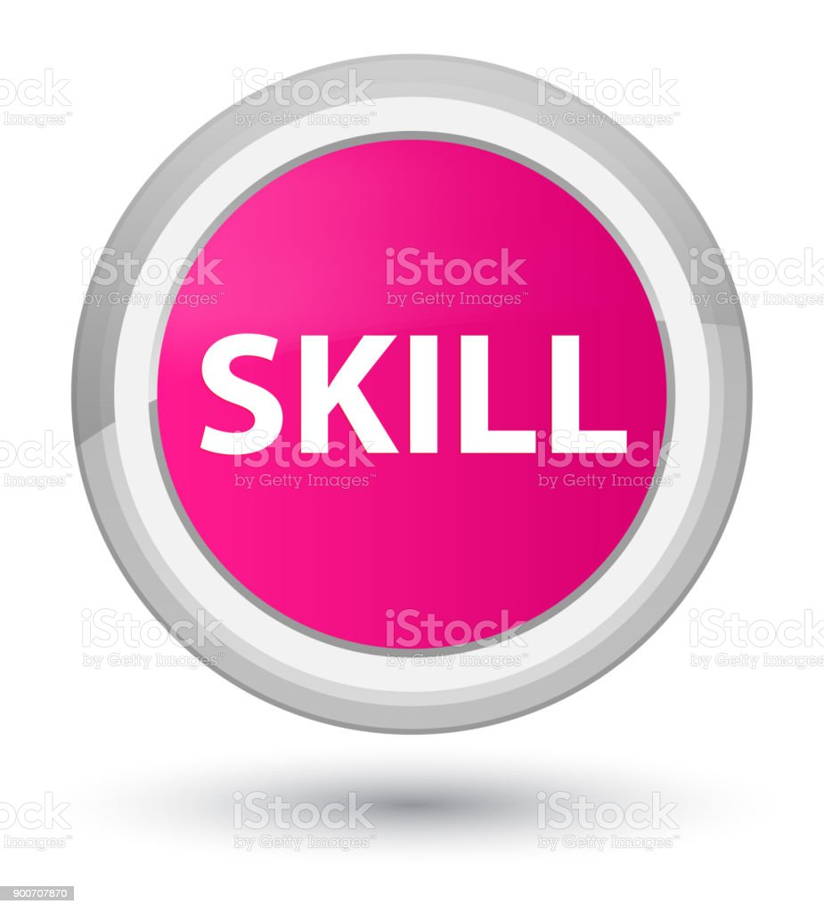Skill prime pink round button vector art illustration