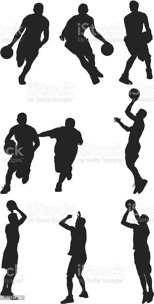 Skillful basketball players handling the ball vector art illustration